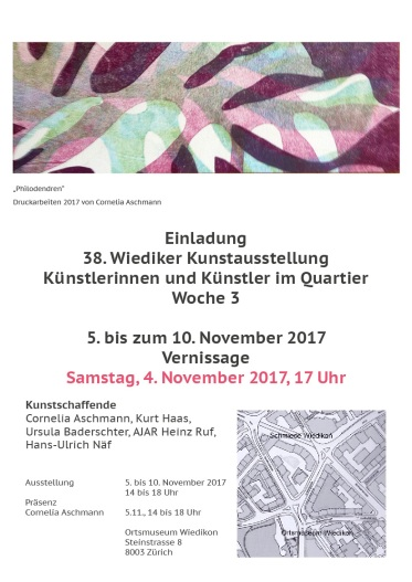 Einladung Künstler im Quartier Wiedikon Cornelia Aschmann